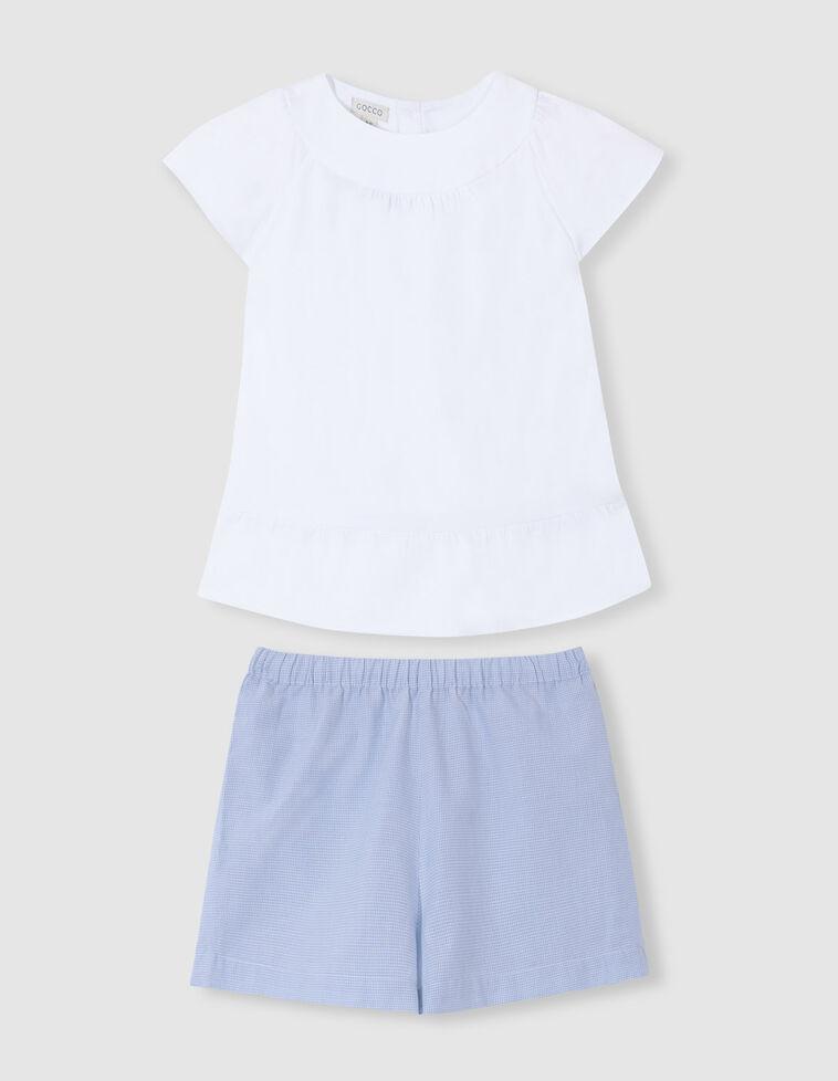 Pijama combinado circular y dobby verde agua