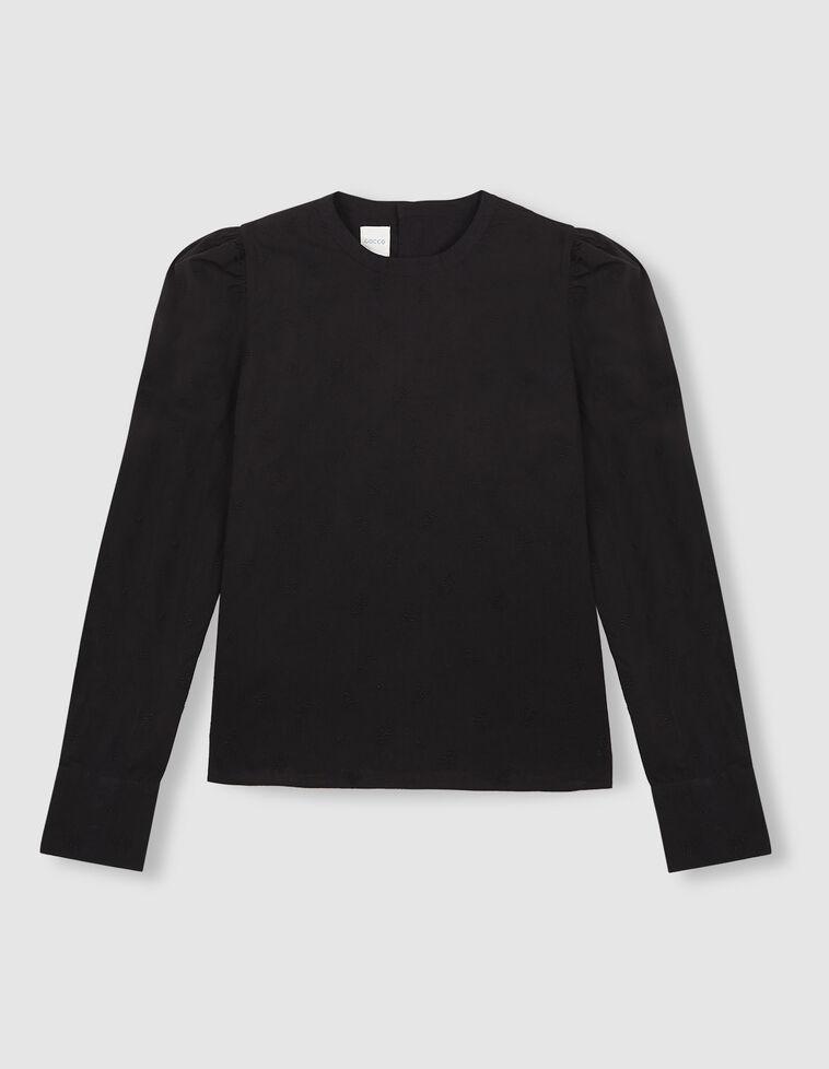 Camisa bordado suizo entallada manga abullonada