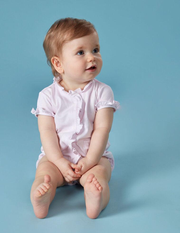 Pijama corto rayas volante rosa