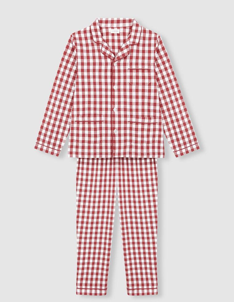 Pijama cuadro vichy rojo.