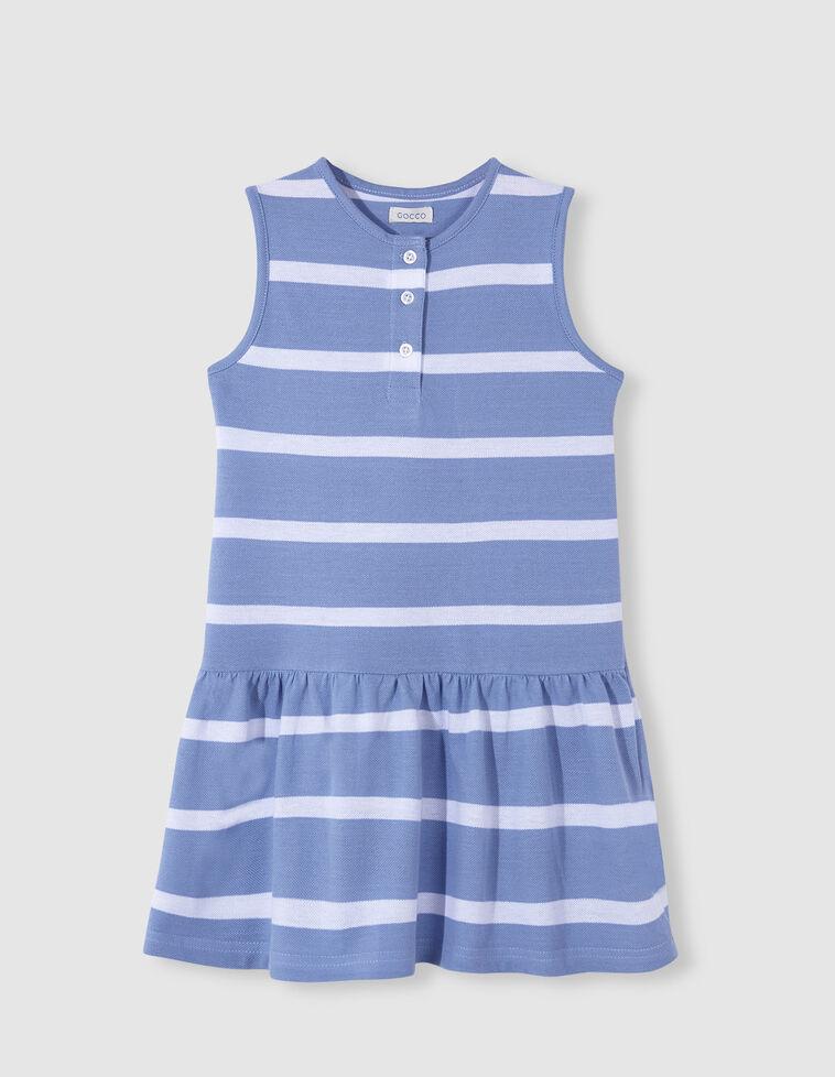 Vestido piqué rayas blanco y azul
