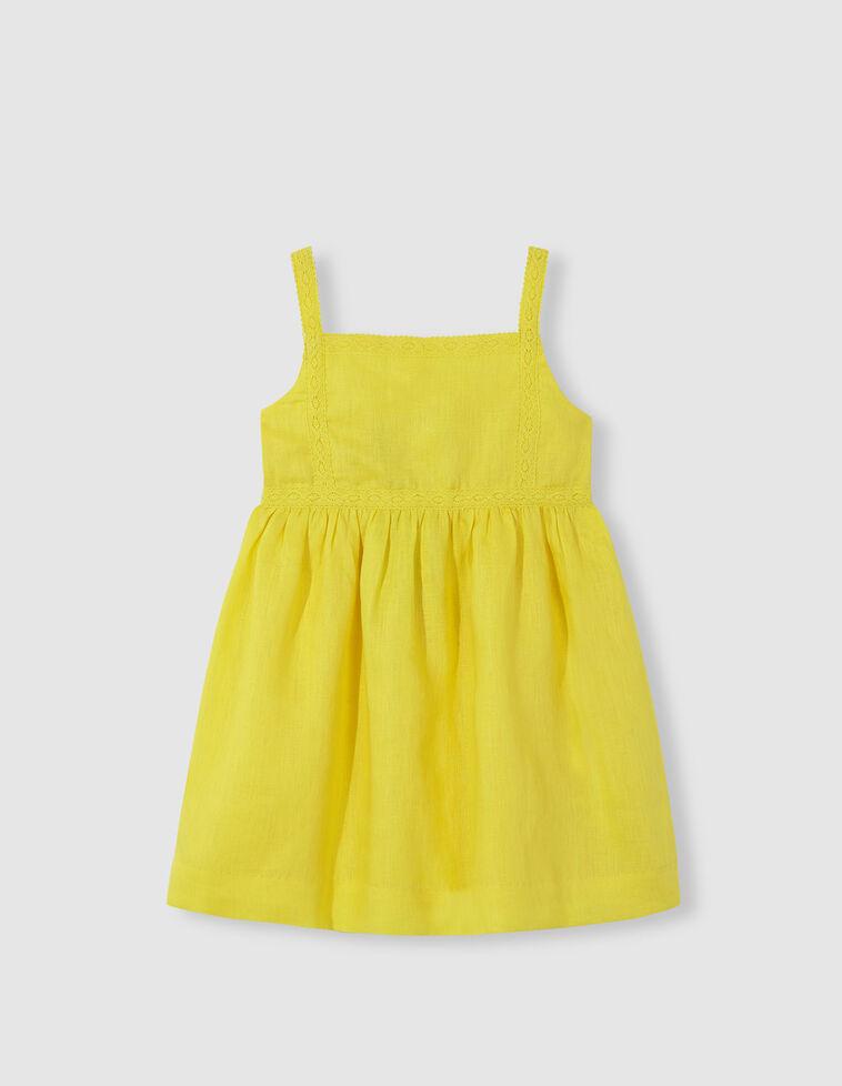 Vestido lino tiras bordadas amarillo