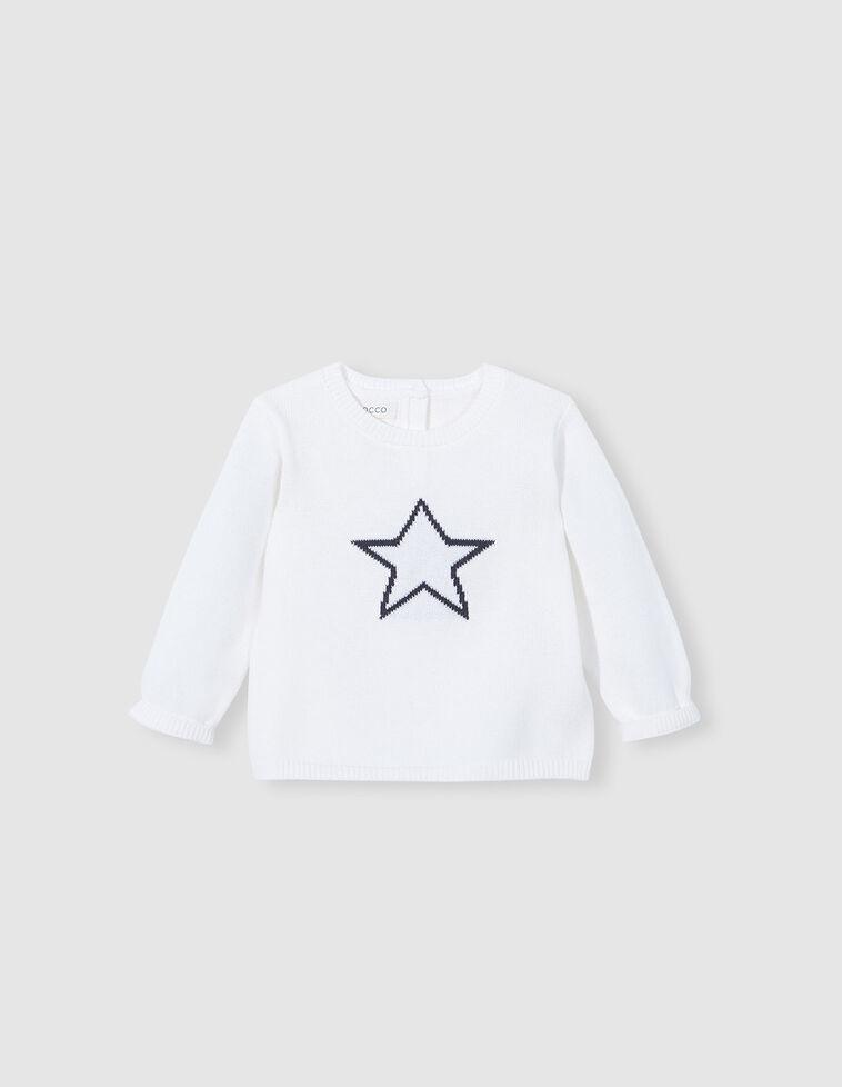 Jersey punto bordado estrella blanco