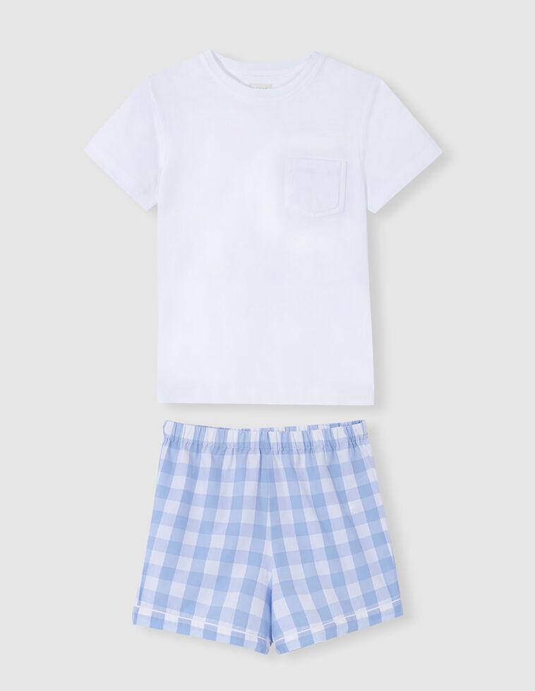 Pijama combinado cuadros azul claro