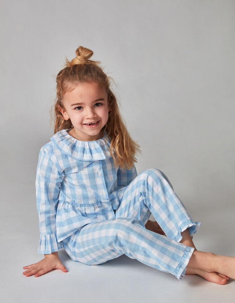 Pijama cuadro vichy azul claro