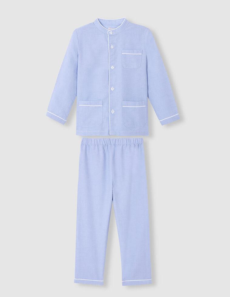 Pijama largo de oxford celeste
