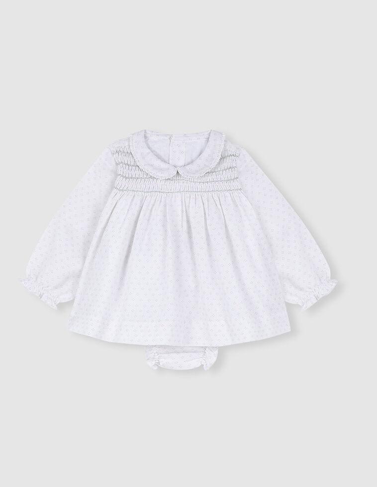 Vestido gasa blanco estampado lunares