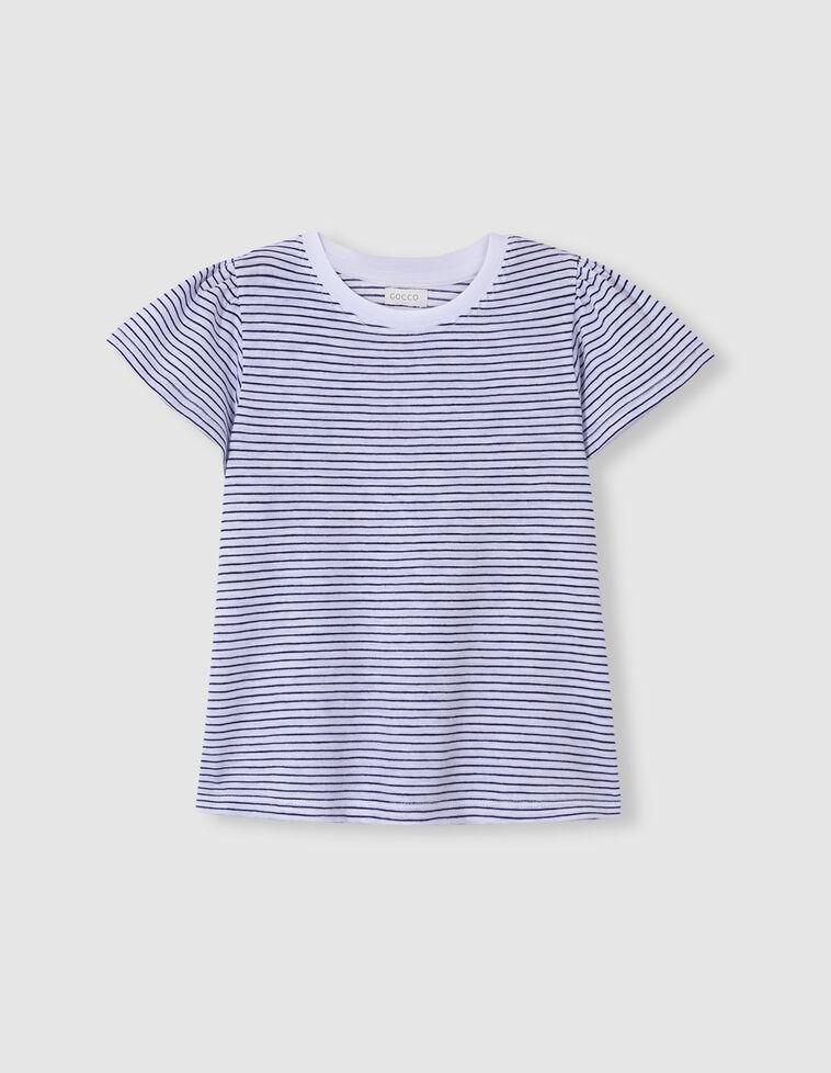 Camiseta manga voltantes rayas azul
