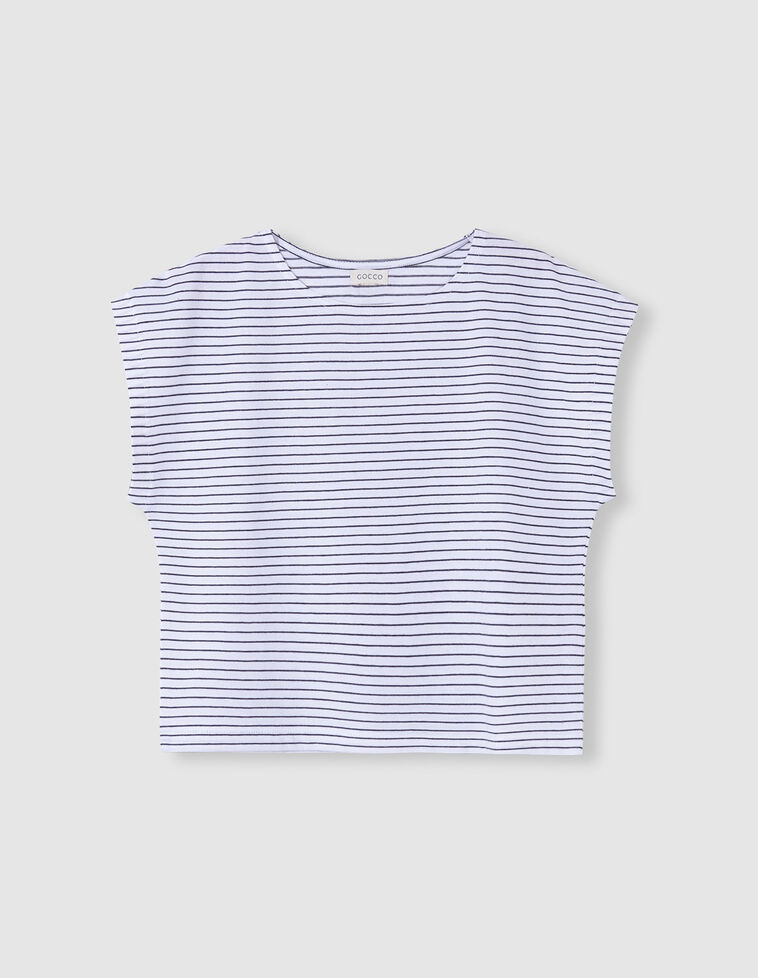 Camiseta blanca rayas grises