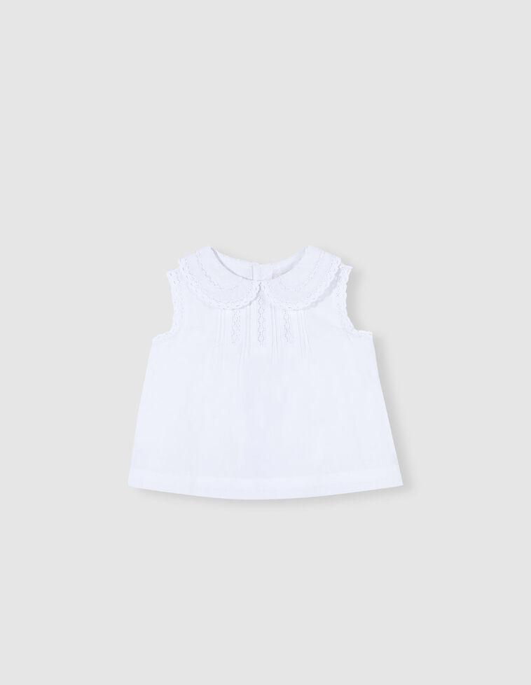 Camisa con tiras bordadas blanca