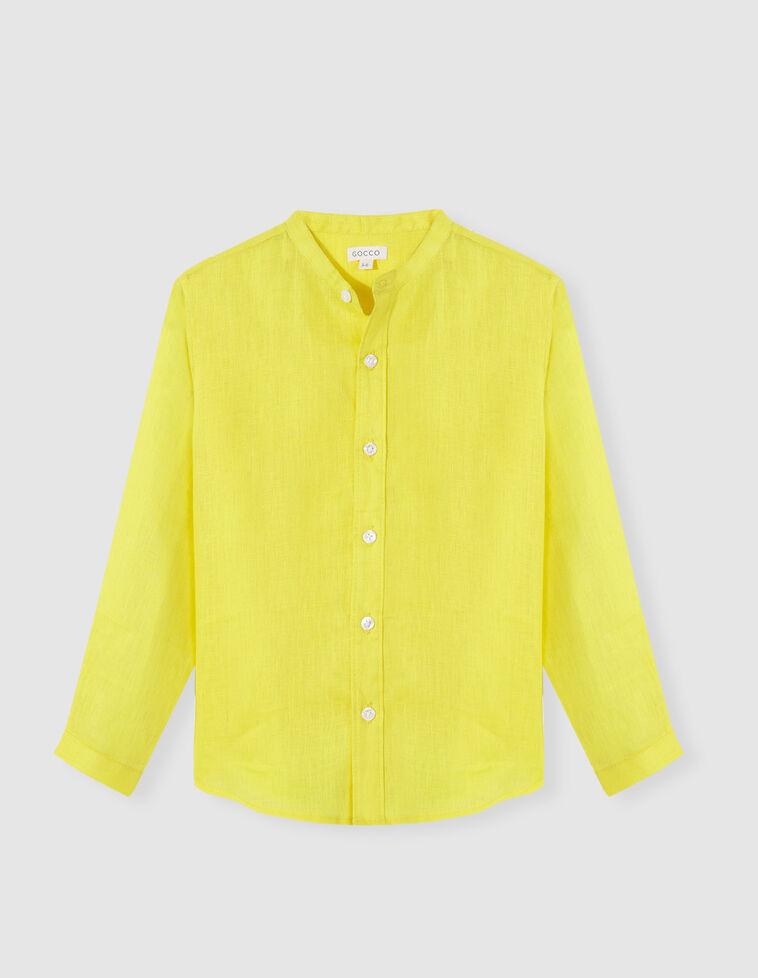 Camisa cuello mao lino amarilla