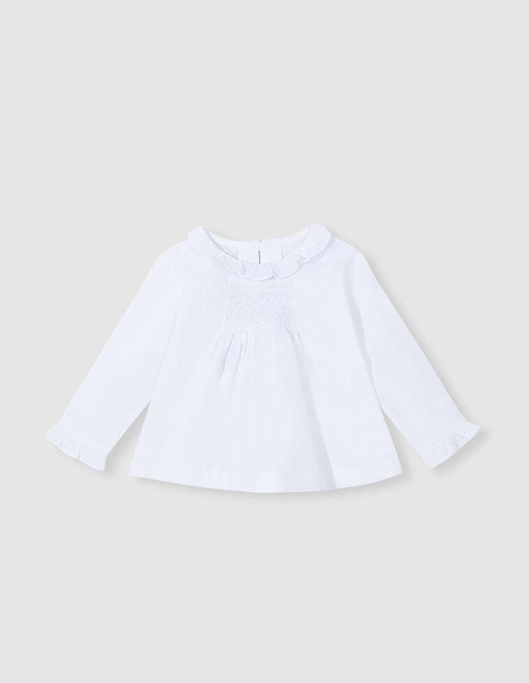 Camisa nido de abeja blanca