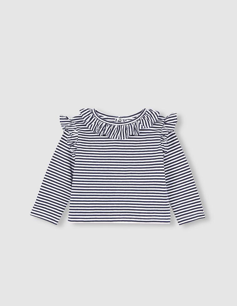 Camiseta rayas marino y crudo.