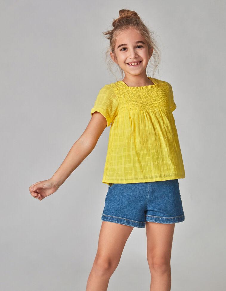 Camisa gasa bordada amarilla